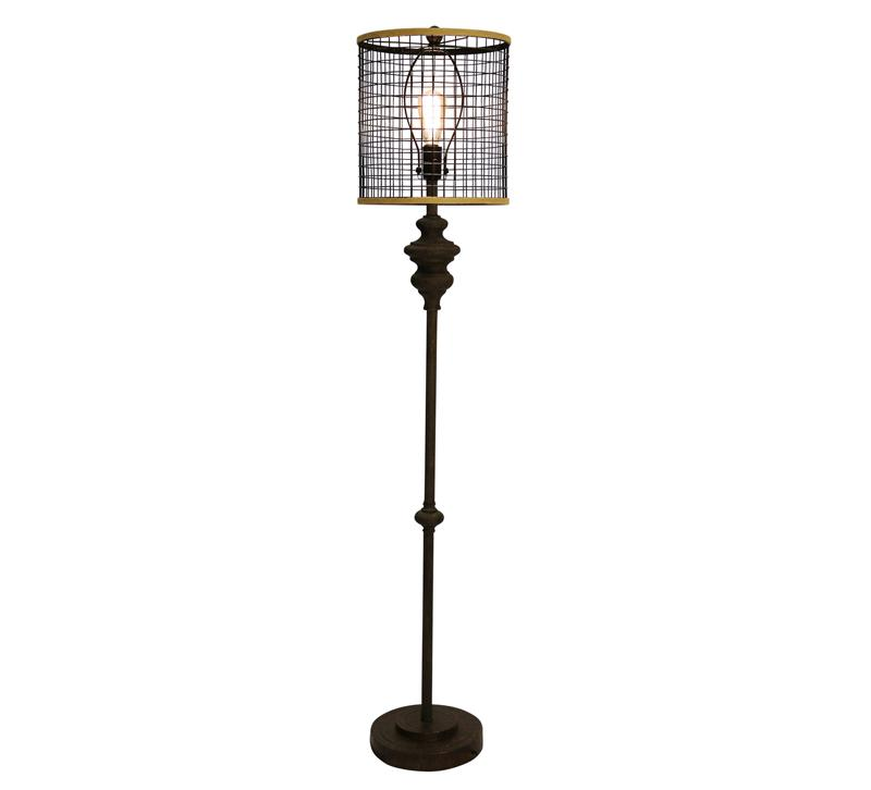 Industrial Design Floor Lamp with a mesh cage around the light source from StyleCraft