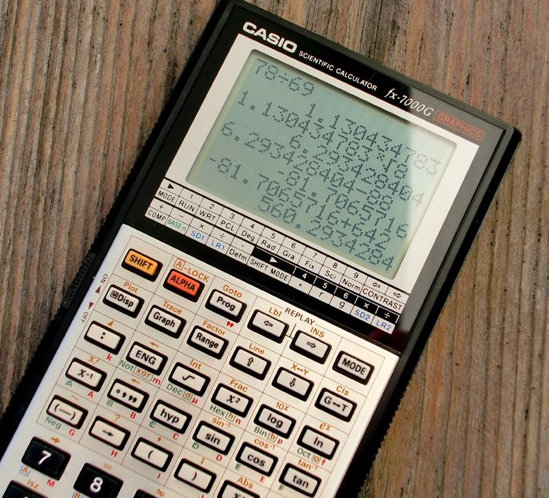 Calculator on wooden table